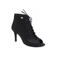 zwarte dames dansschoenen voor kizomba samba bachata salsa Portdance PD815 satijn met rits voor